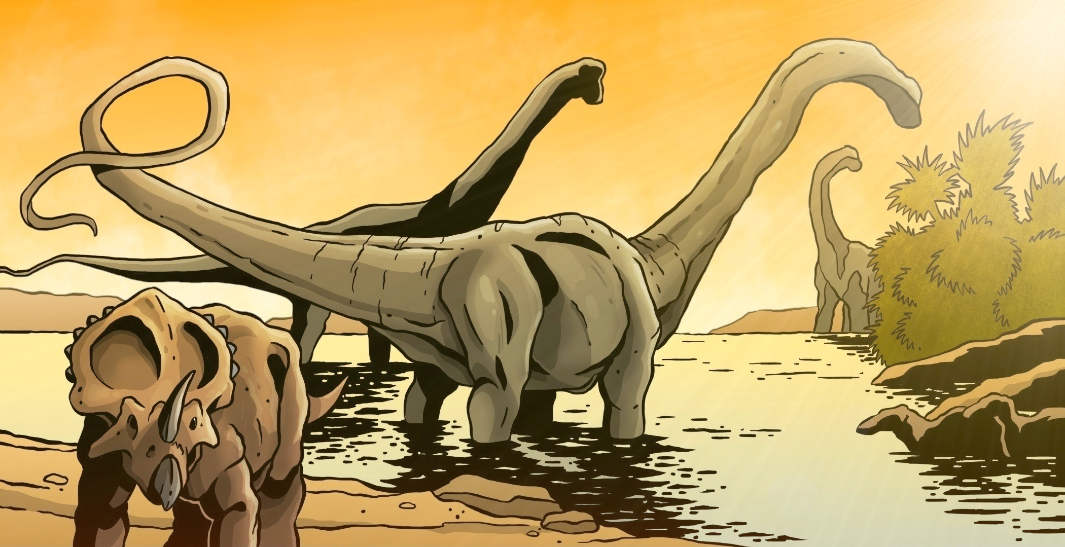 Cretaceous watering hole.