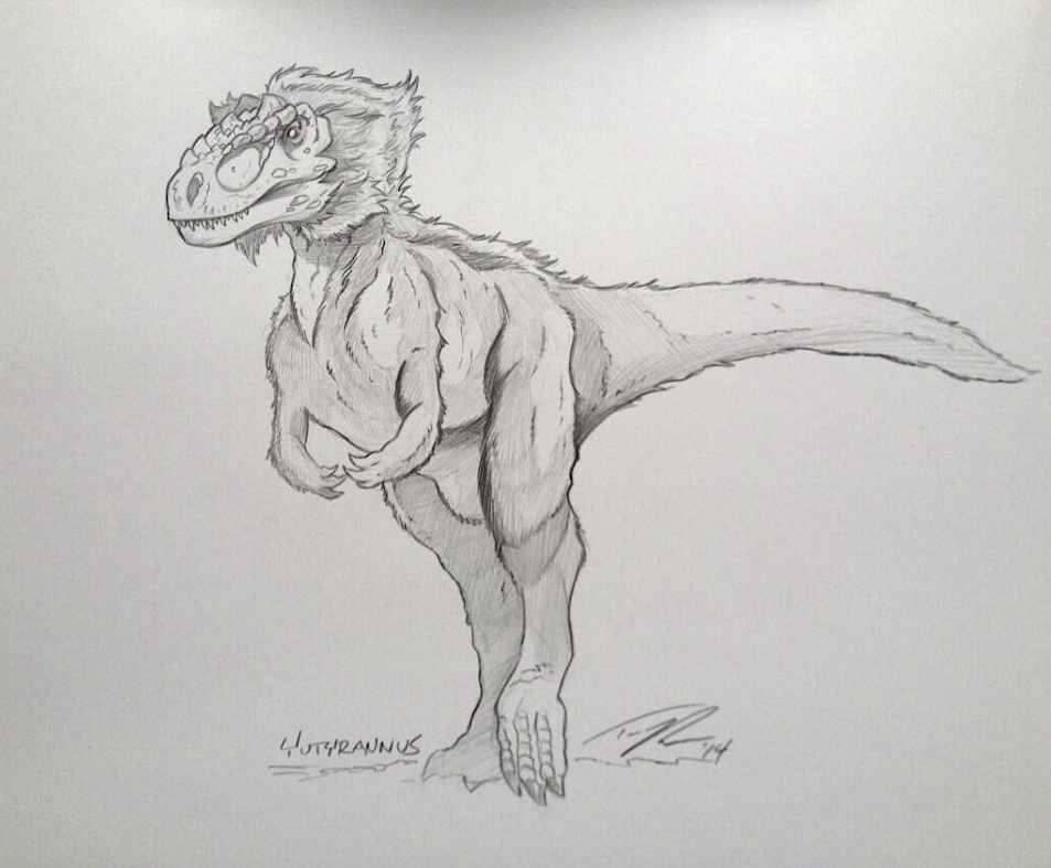 A new favorite of mine, the fluffy Yutyrannus. Expect to see more of this guy from me!