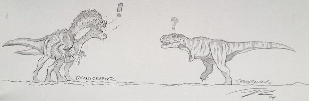 A pair of Gigantoraptors giving a Tarbosaurus the what for!