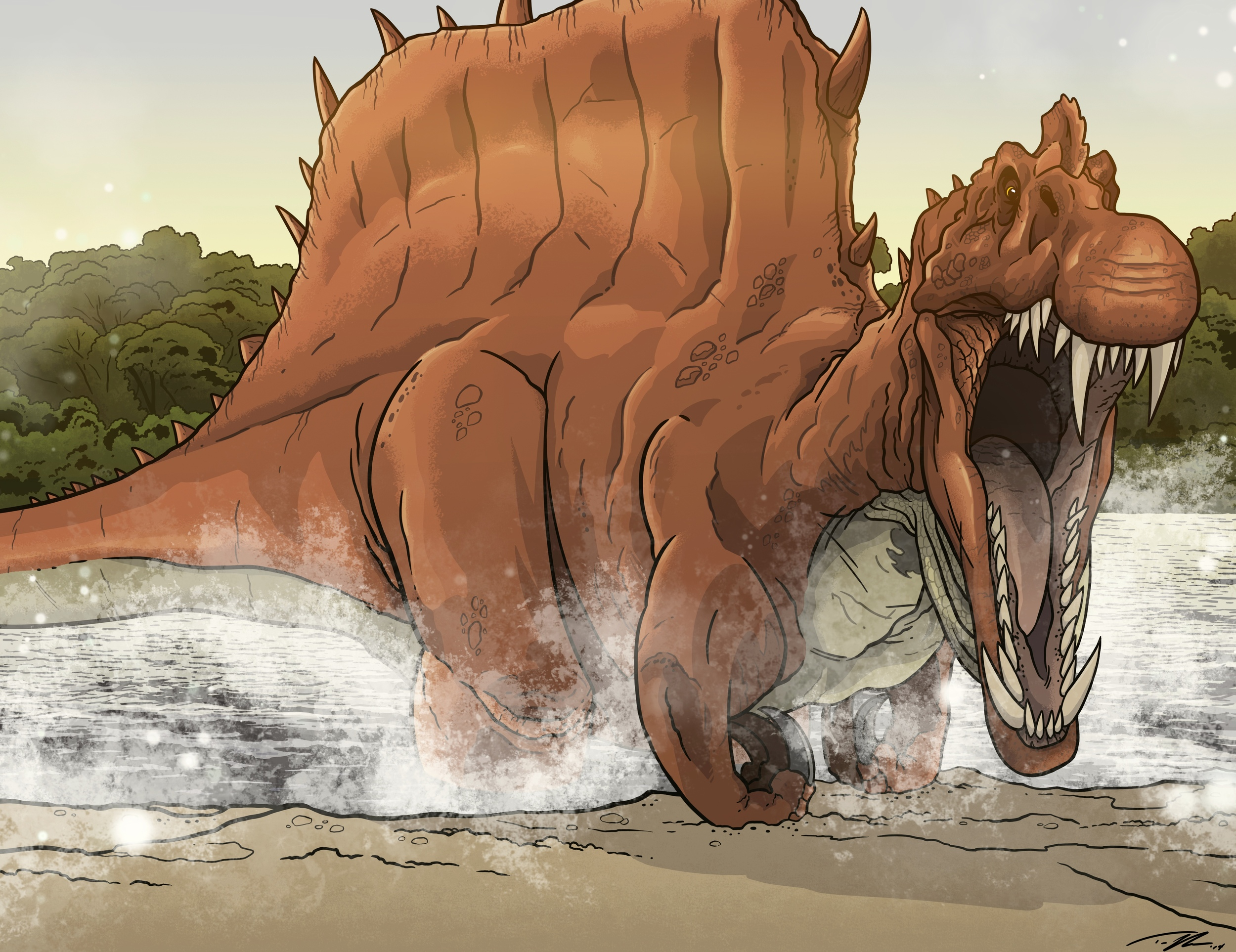 The trick to drawing an accurate spinosaurus amidst drastic changes to the skeletal reconstruction? Keep his legs in the water!