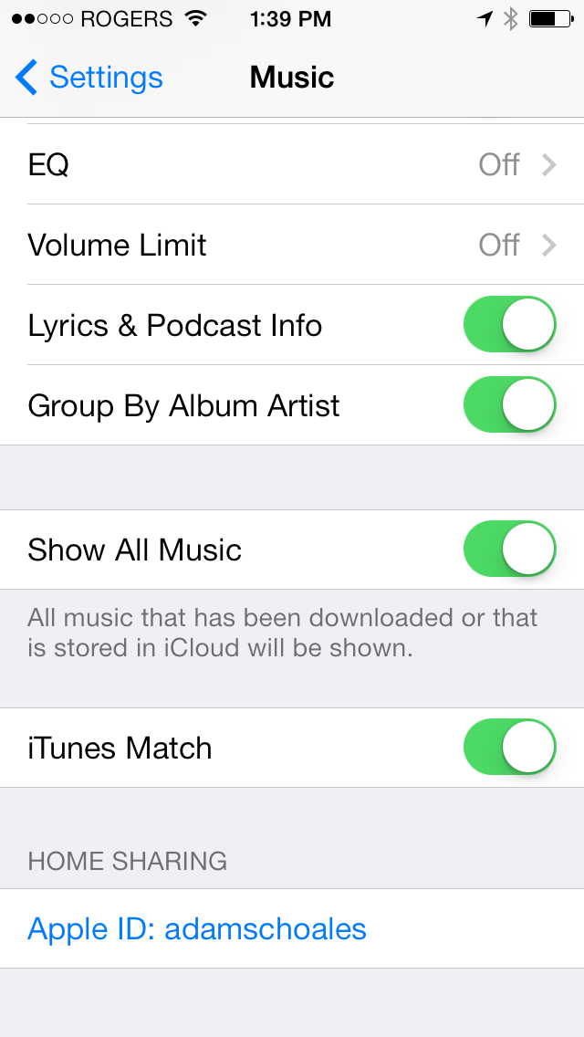 Show all music in Settings.app