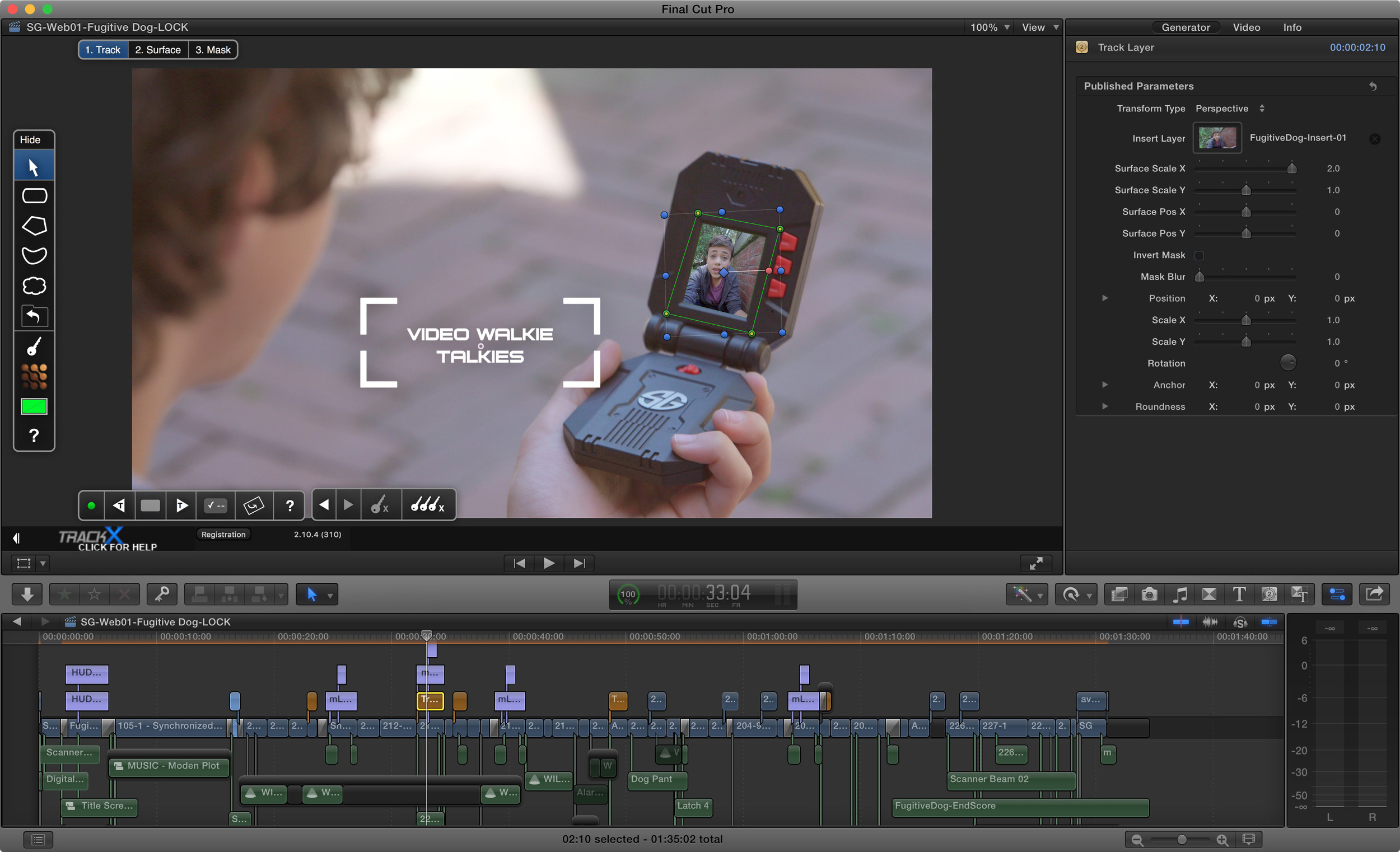 TrackX was invaluable throughout the edit process