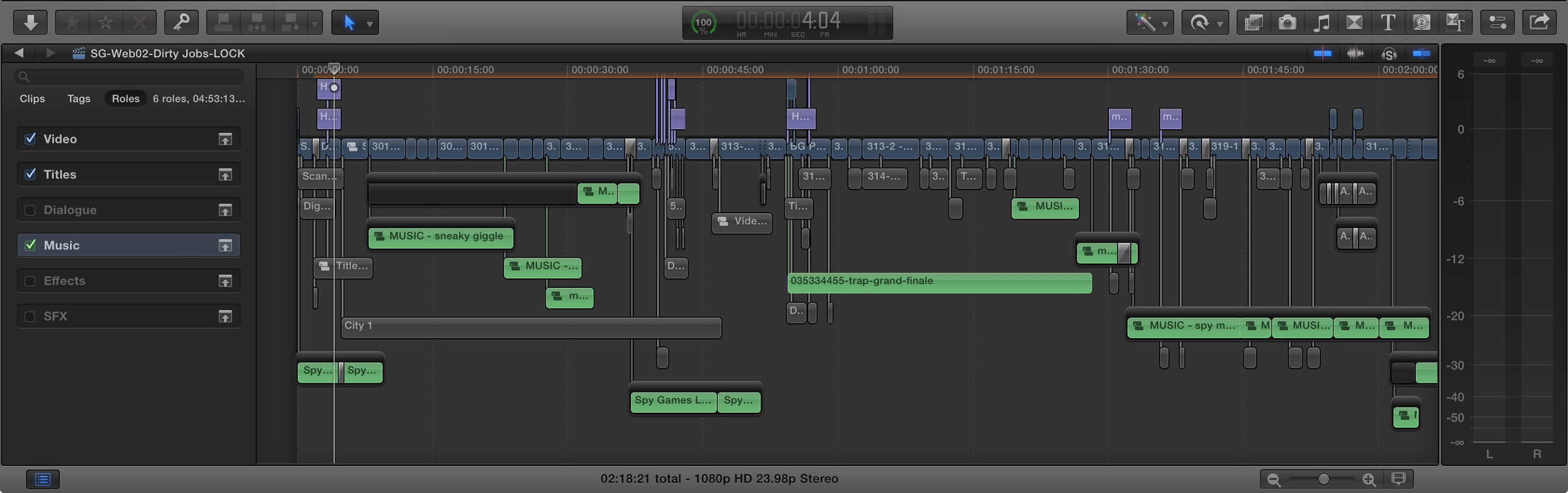 Keeping your roles tidy will help you immensely You'll also notice the use of compound clips for music tracks.