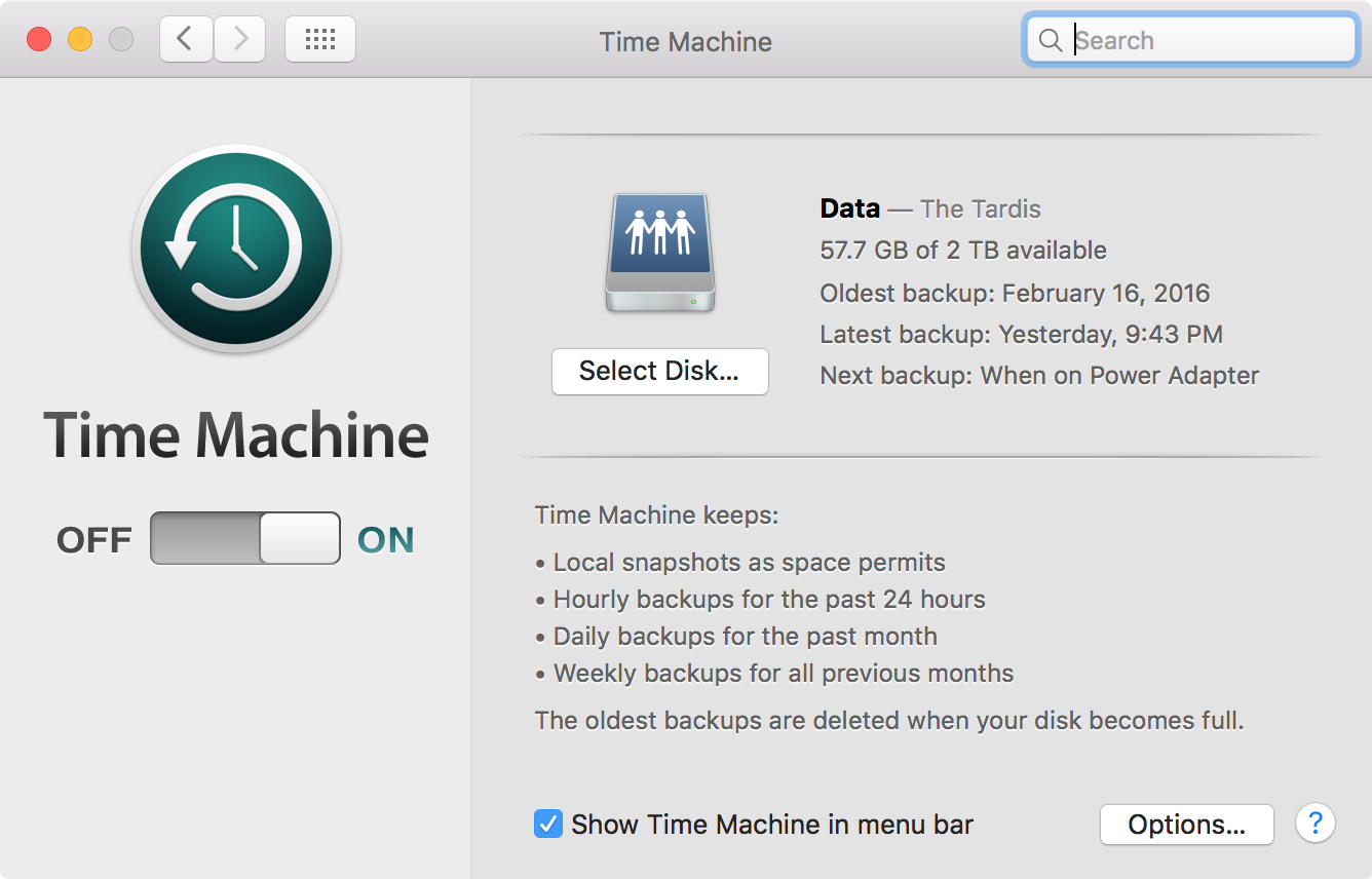 The Time Machine preference pane. As you can see my backups date back to earlier this February.