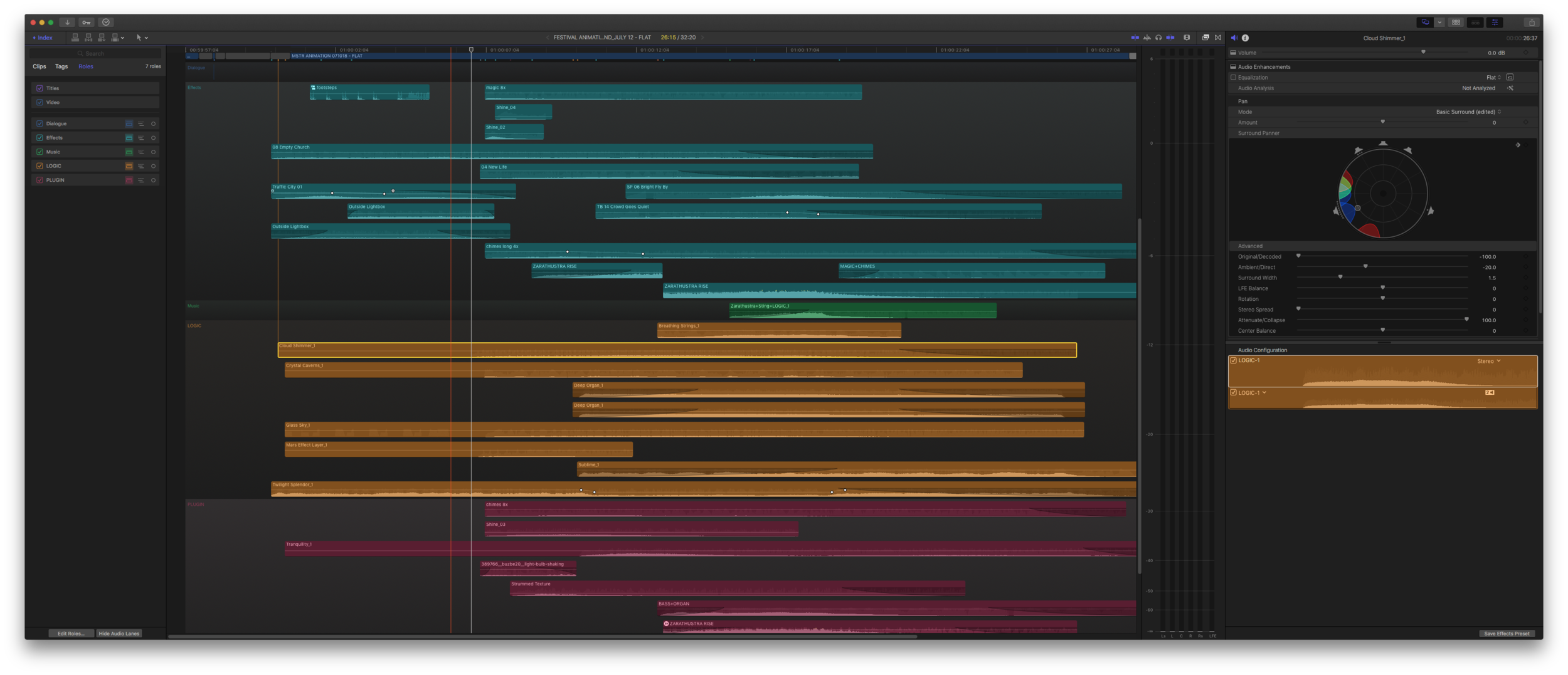 The sound design elements in place, all kept organized with roles.