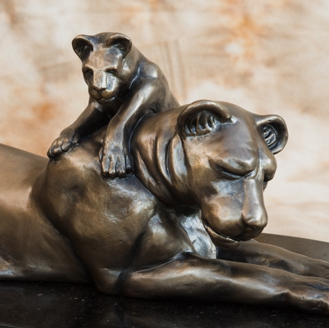 Lioness and Cub cold bronze   $1800