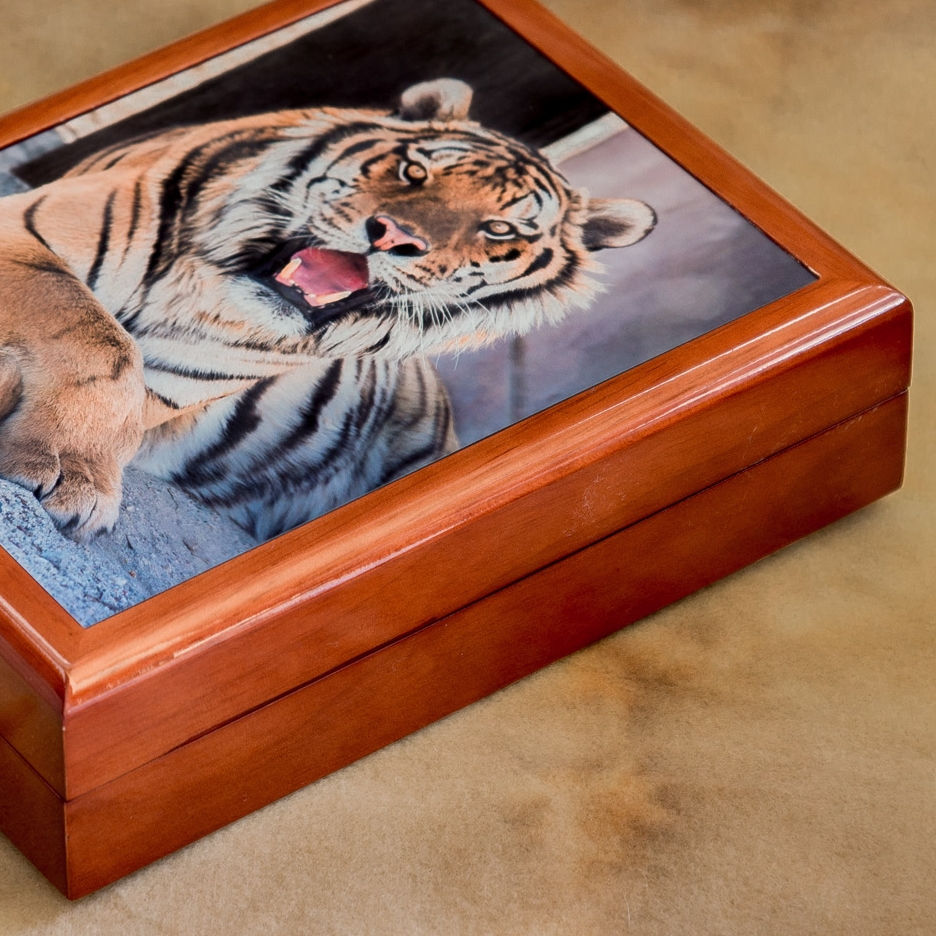 "Keepsake Boxes with Inlaid Photograph   7.25""x9.25""x2.5""     $150"