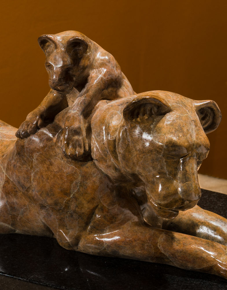 Lioness and Cub bronze sculpture, with marble patina, by Terrence Robertson-Fall