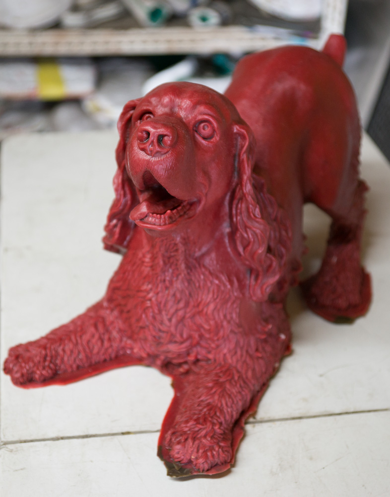 The first wax of Play Bow fresh from the mold. This is a memorial to our cocker spaniel Sonny, in one of his favorite poses, ready to play. He was a wonderful dog. By Terrence Robertson-Fall