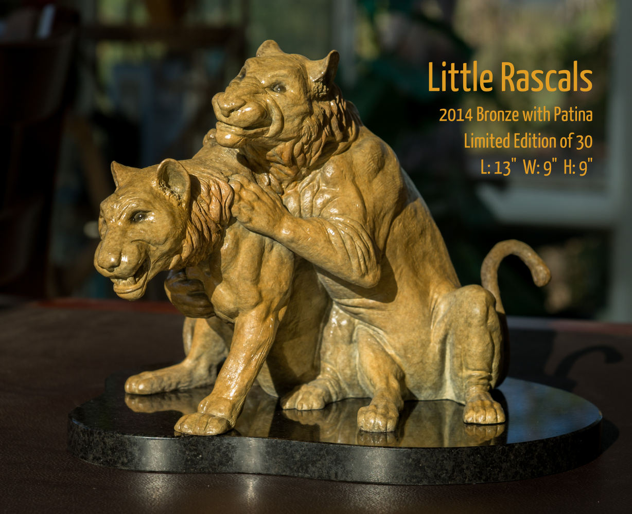 """Little Rascals bronze sculpture by Terrence Robertson-Fall, based on a scene witnessed in the Serengeti in Tanzania, Africa. 13""""x9""""x9"""""""