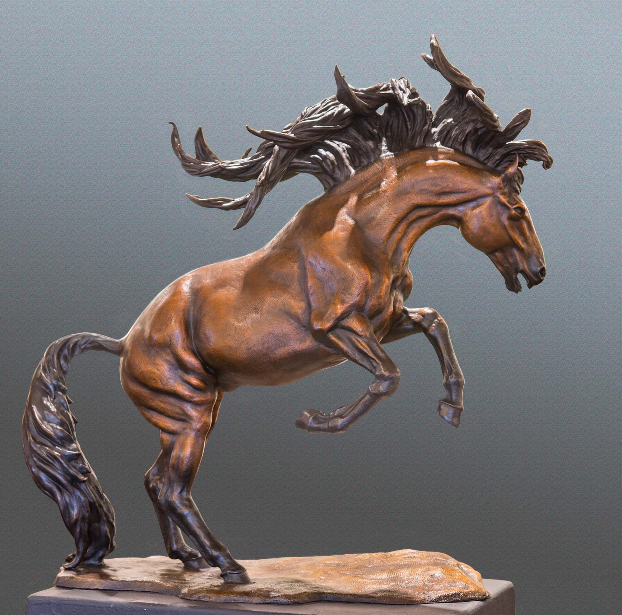 Running Free Horse bronze sculpture by Terrence Robertson-Fall