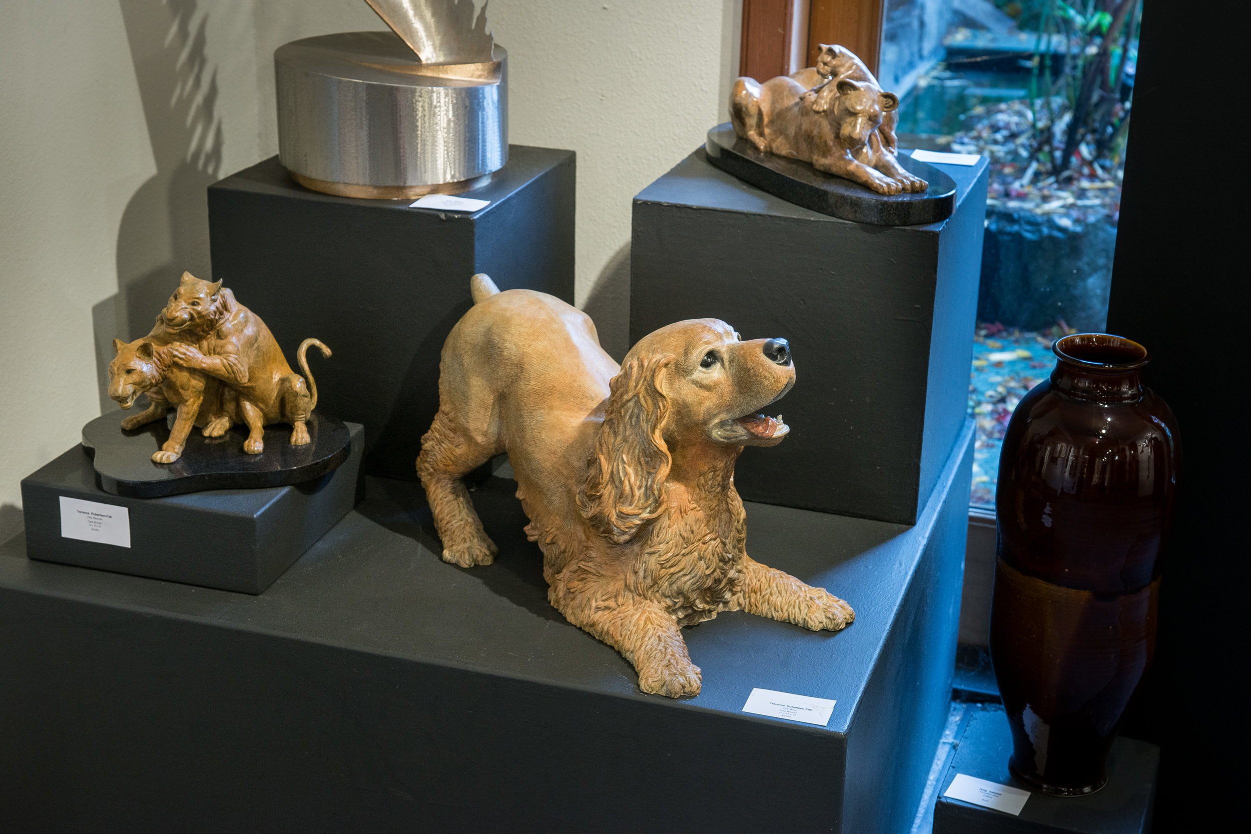 Cats and dogs getting along! Play Bow, Little Rascals and Lioness and Cub bronzes