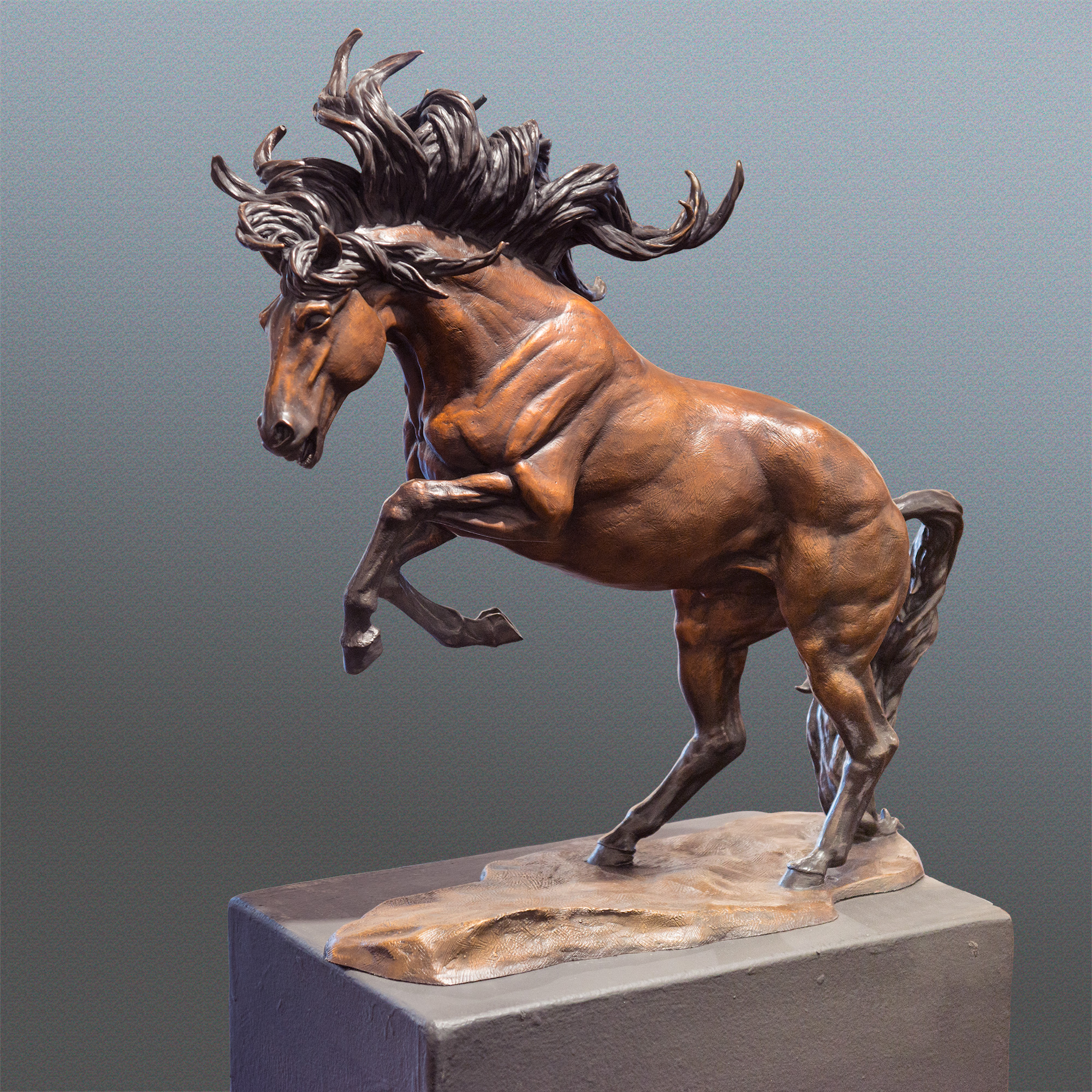 Running Free Horse bronze sculpture by Terrence Robertson-Fall -  brown small 9220.jpg