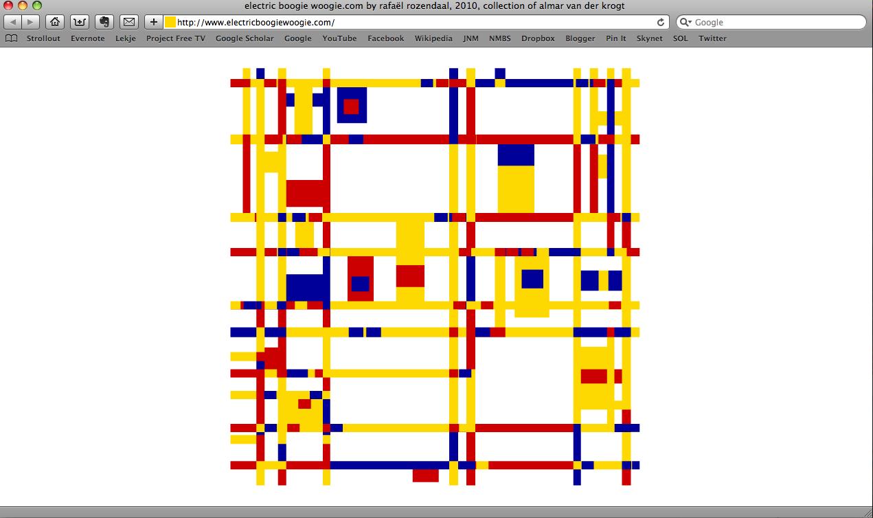 Een screenshot van het bewegende werk Electric Boogie Woogie van Rafaël Rozendaal.