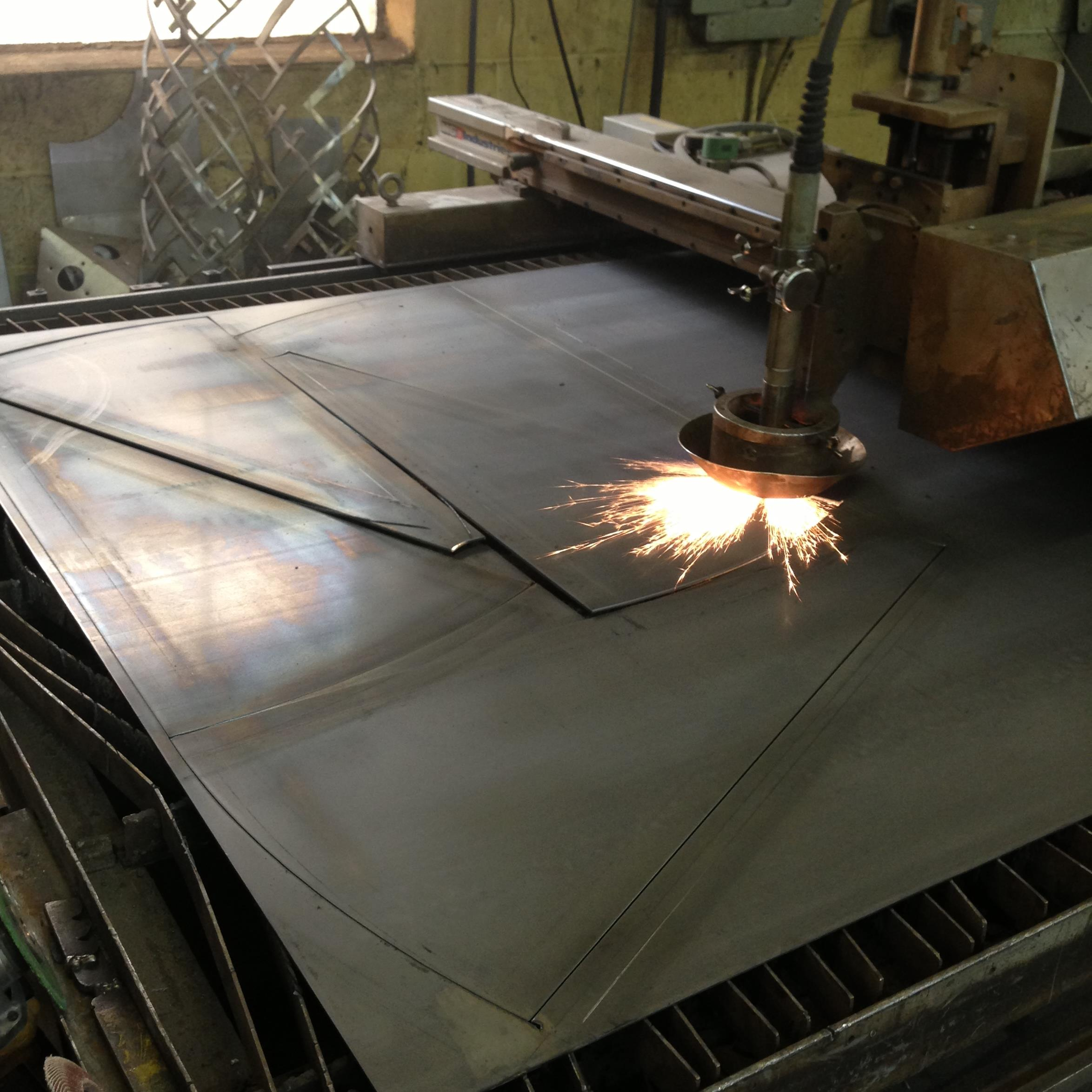Plasma machine cutting stair treads from 11g steel