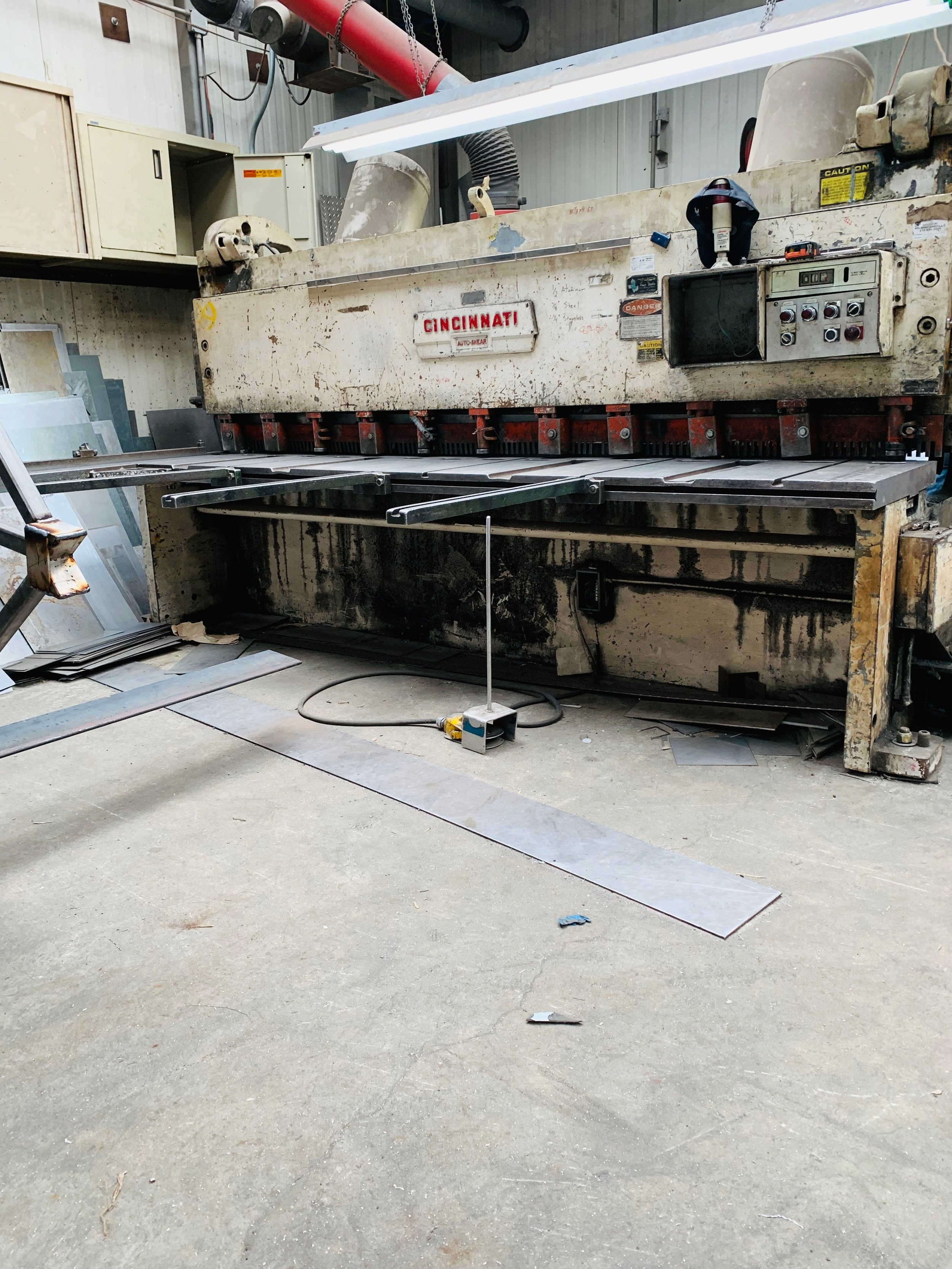 """Sheer - Cuts sheet stock steel up to 3/8"""" thick, stainless steel up to 1/4"""" thick and aluminum up to 3/8"""" thick"""
