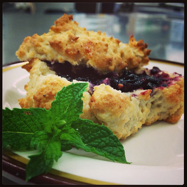 Gluten Free Drop Biscuit with Blueberry Jam