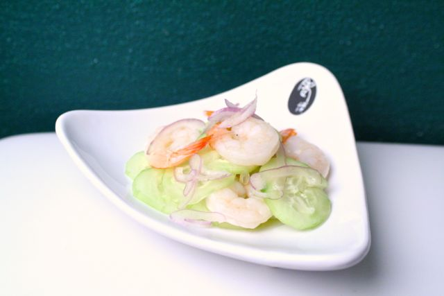 Cucumber and shrimp salad with shallots and nuoc cham