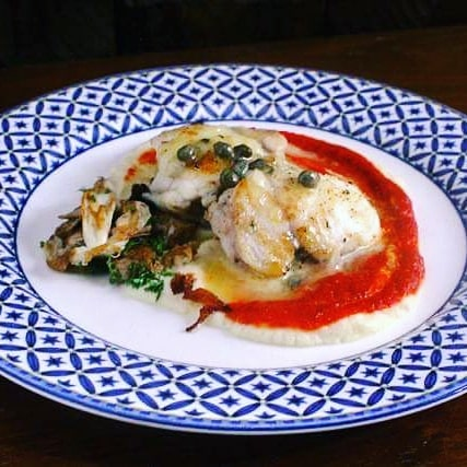 seared monkfish, red pepper coulis