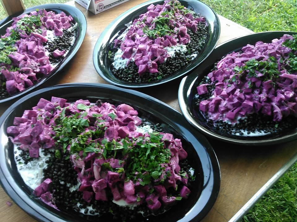 black lentil salad with local beets and yogurt