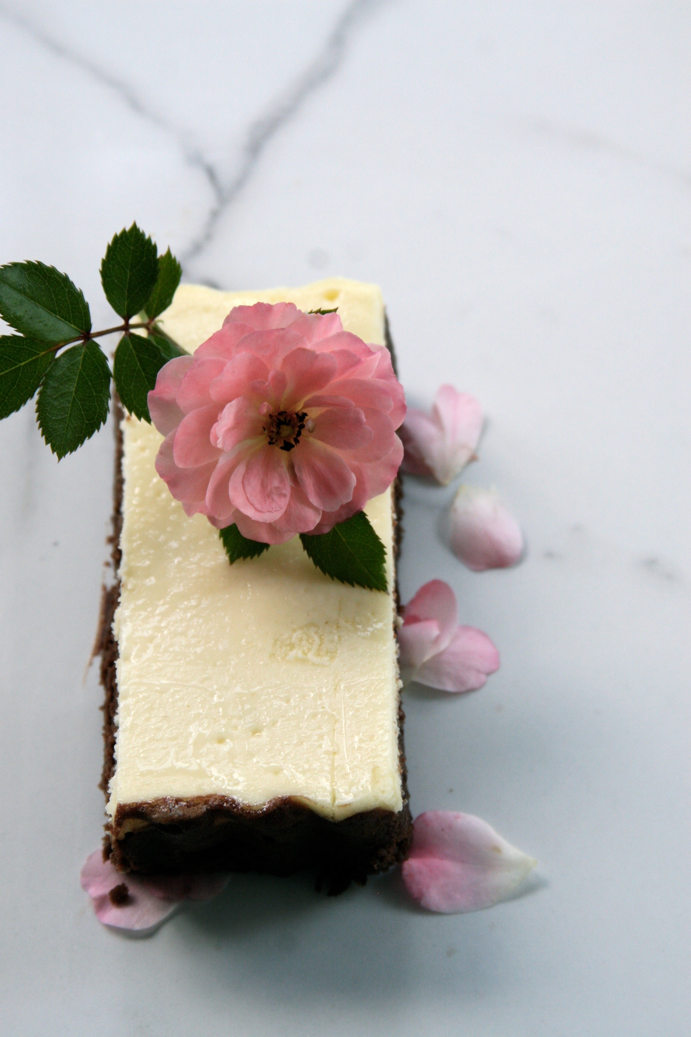 Rose scented Brownie Cheesecake made in an oblong tart pan with removable bottom serves 8.