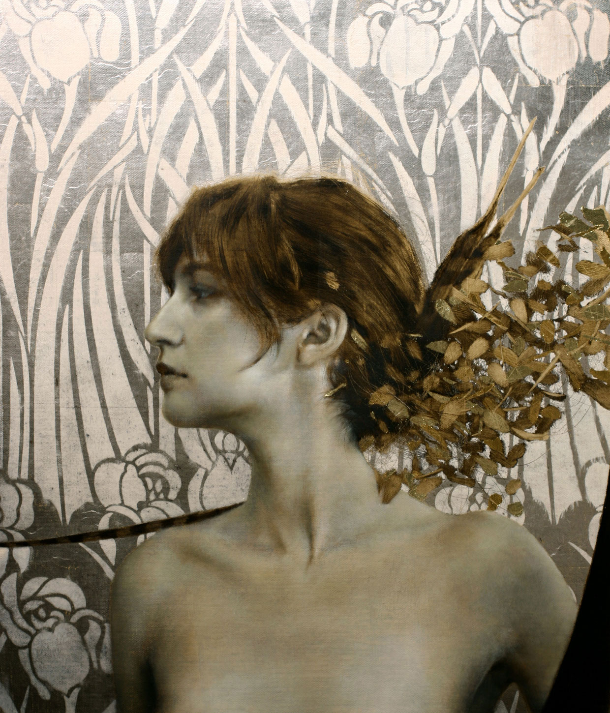 Afela's Nature.   16 x 14 inches.  Oil, gold and silver leaf on linen.  Private collection.