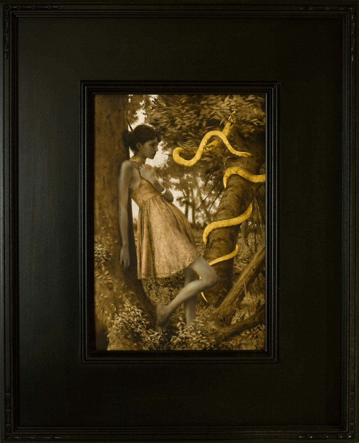 Into the Deep.  10 x 8 inches. Oil, gold and silver leaf on linen. Private collection.
