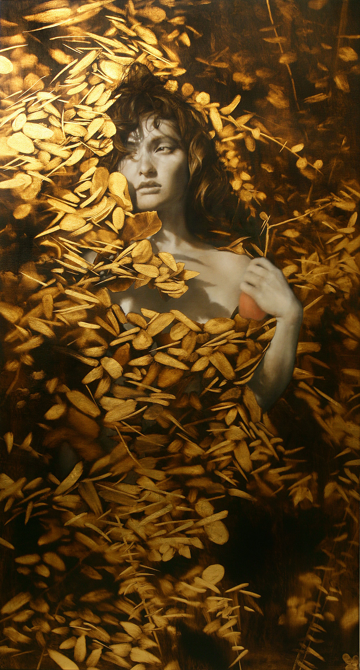 Revelen.  61 x 33 inches. Oil and gold leaf on linen. Private collection.