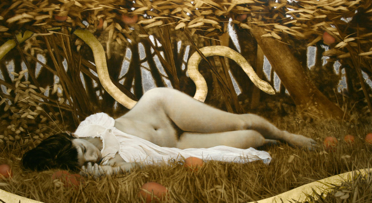 Summoning A Sleeper.   19 x 34 inches.  Oil, gold and silver leaf on linen.  Private collection.