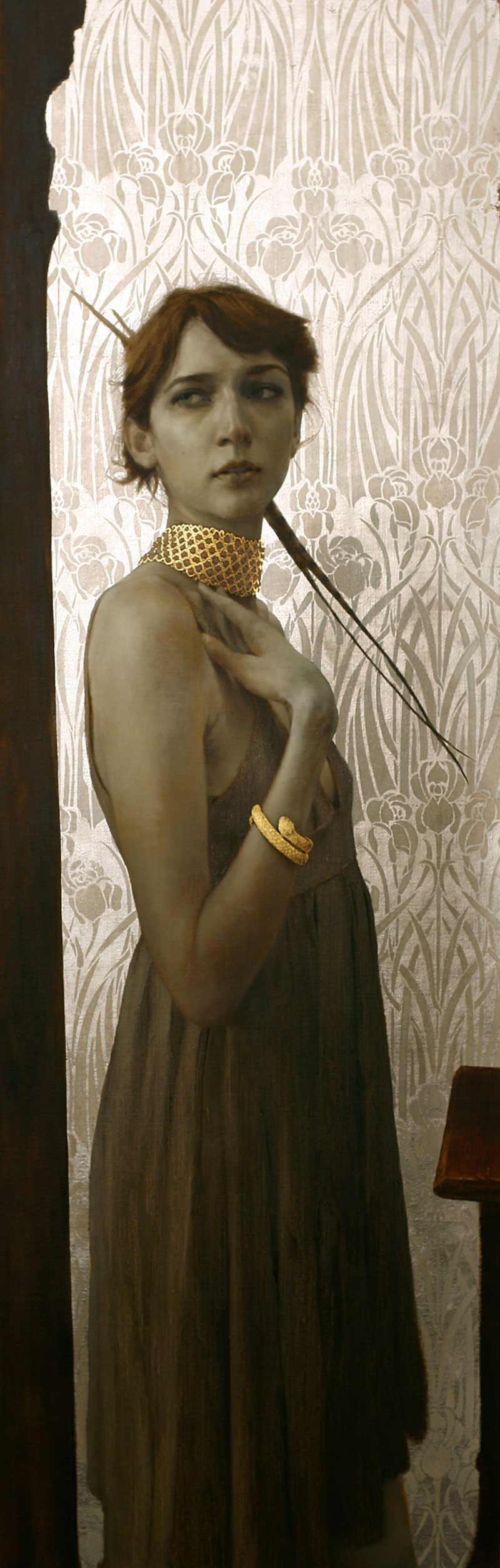The Gold Choker.  64 x 21 inches. Oil, gold and silver leaf on linen. Private collection.