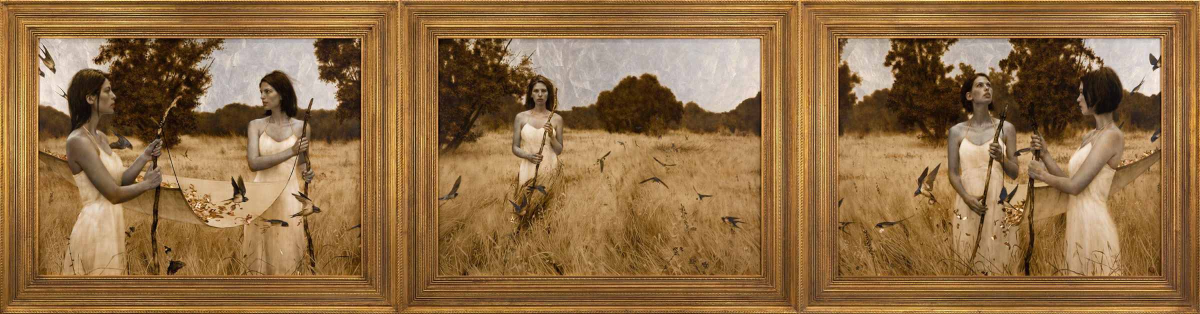 Ad Hoc Quod Iterum (To Be Again).  34 x 120 inch Triptych. Oil, gold and silver leaf on wood. Private collection