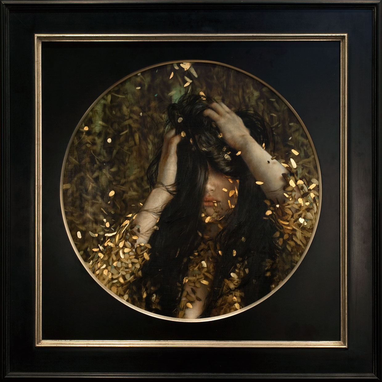 Versine.   20 x 20 inches.  Oil and gold leaf on linen.  Private collection