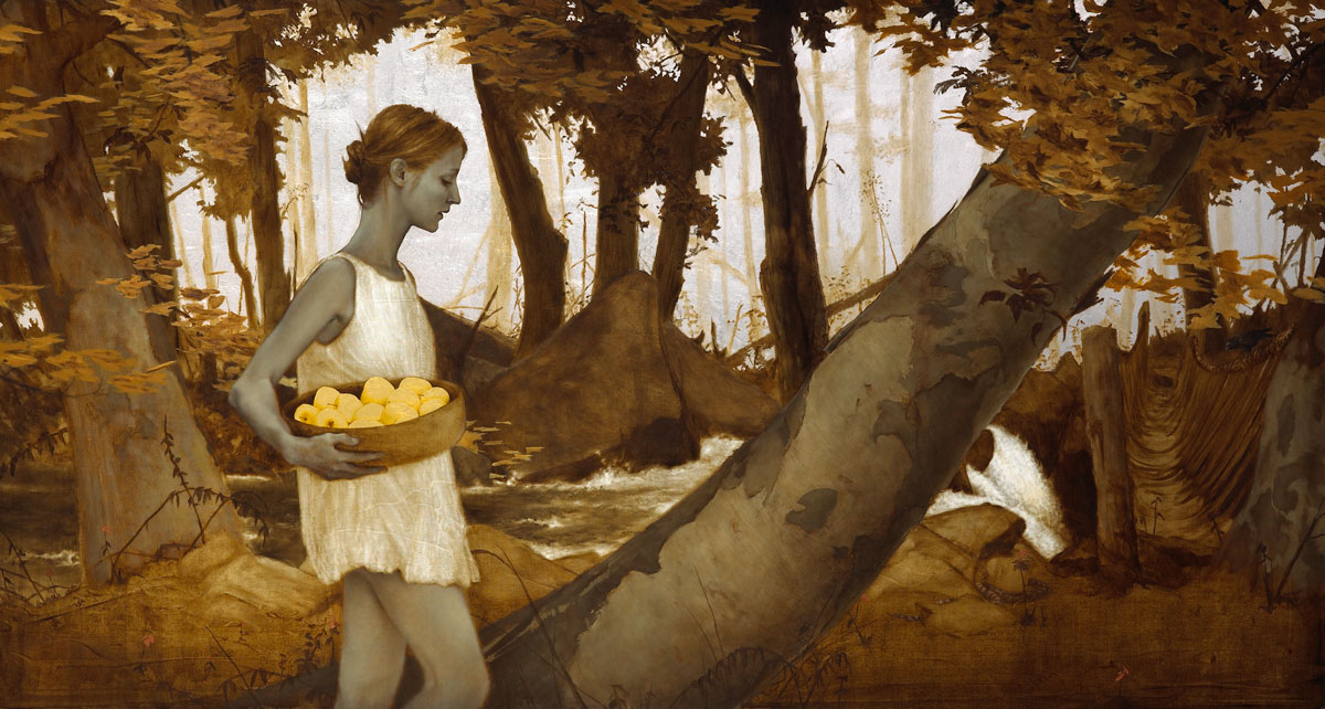 Collecting Apples.   24 x 44.5 inches.  Oil, gold and silver leaf on wood.  Private collection