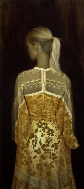 The Gold Dress.   OIl and gold leaf on linen.  Private collection