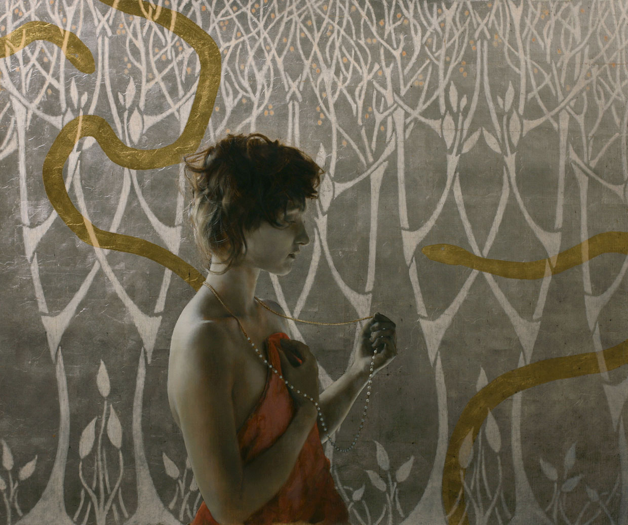 Girl With Serpents and Pearls , 2010. Oil, gold, and silver on linen. 25 x 30 inches. Private collection.