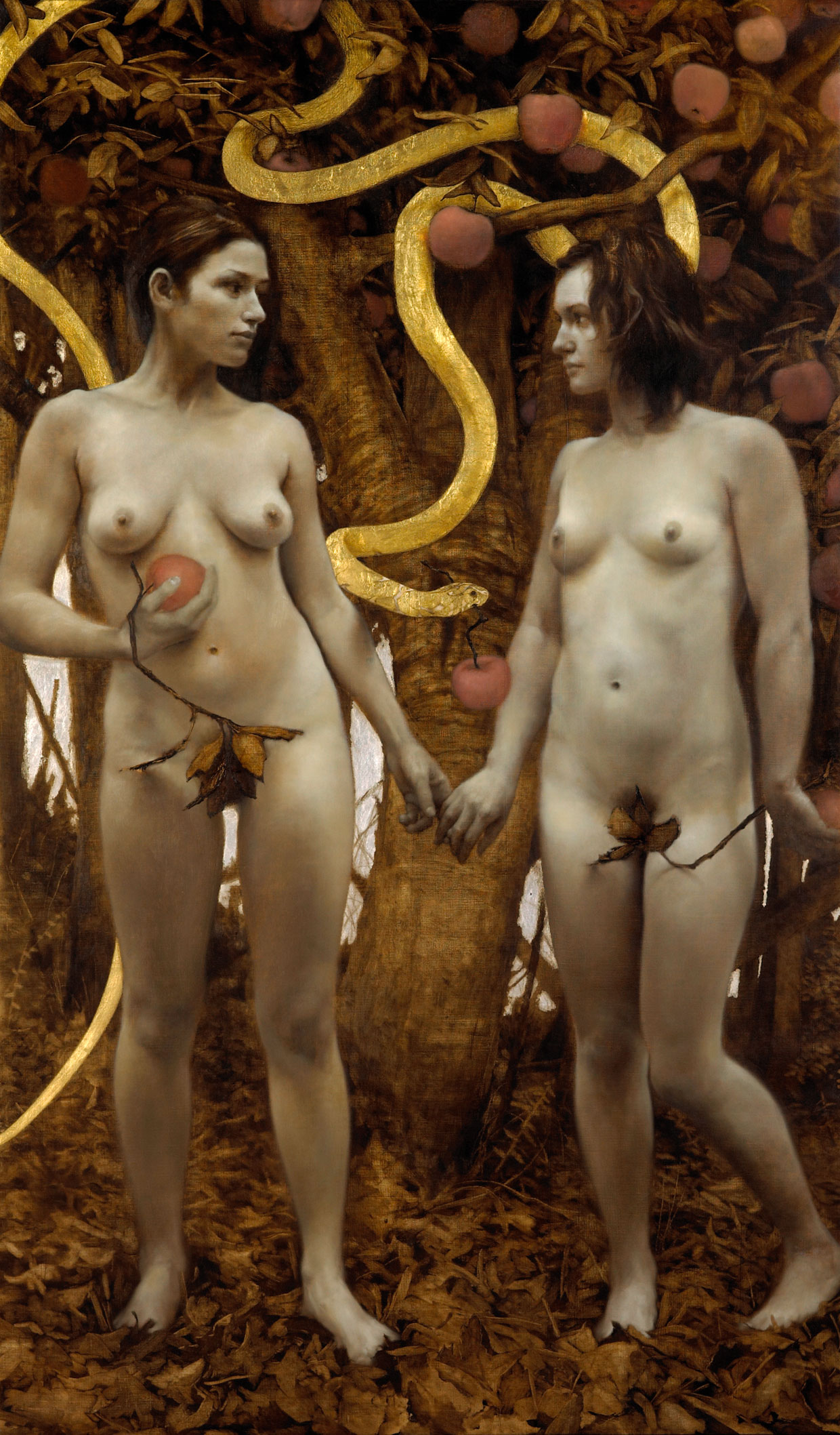 The Proposition , 2008-09. Oil, gold, and silver on linen. 52 x 31 inches. Private collection.