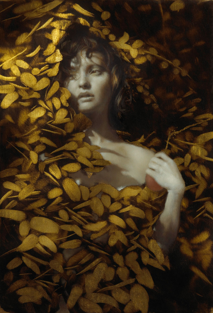 Revelen , 2009. Oil and gold on linen. 12 x 8inches. Private collection.