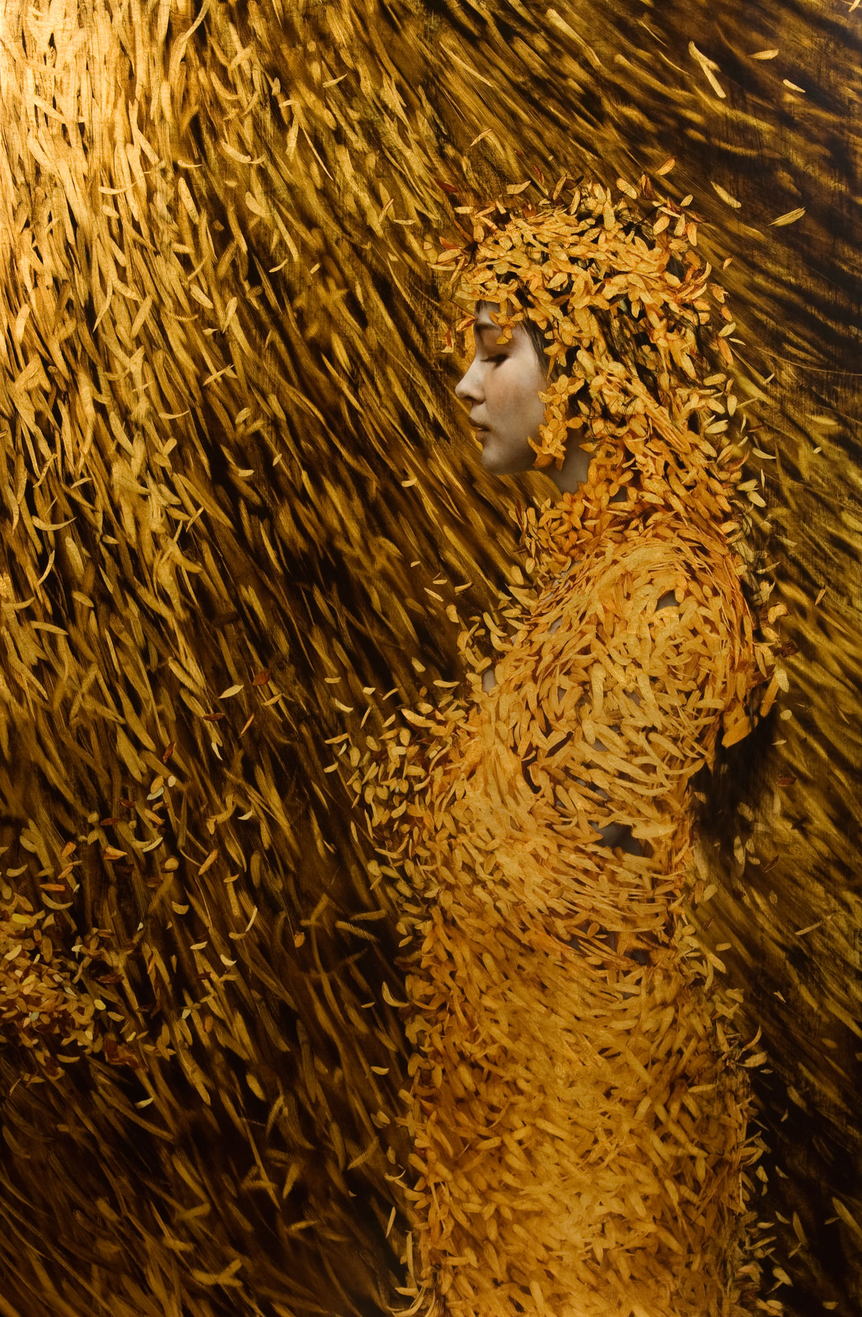 Cocoon , 2012. Oil and goldon linen. 51 x 30inches. Private collection.