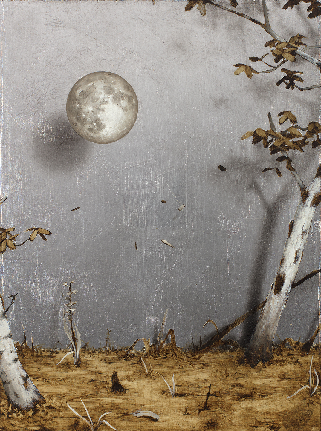 The Moon Room , 2016. Oil and silver on wood panel. 9 x 12 inches.