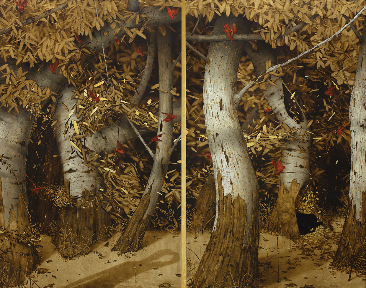 The Golden Corridor , Diptych.  Oil and gold leaf on linen panels.  64 x 84 inches.  Private Collection