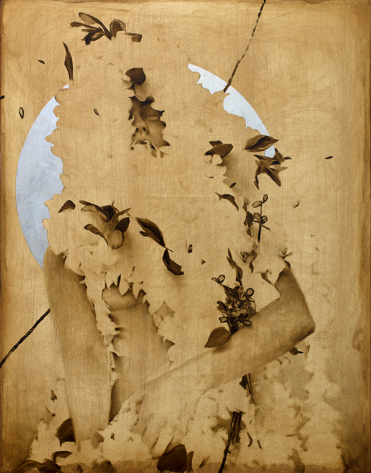 High Moon Orchid Priestess (facing NE) . Oil and silver leaf on wood panel. 14 x 18 inches.