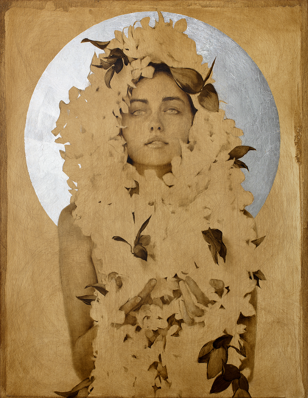 High Moon Orchid Priestess (facing North) . Oil and silver leaf on wood panel. 14 x 18 inches.