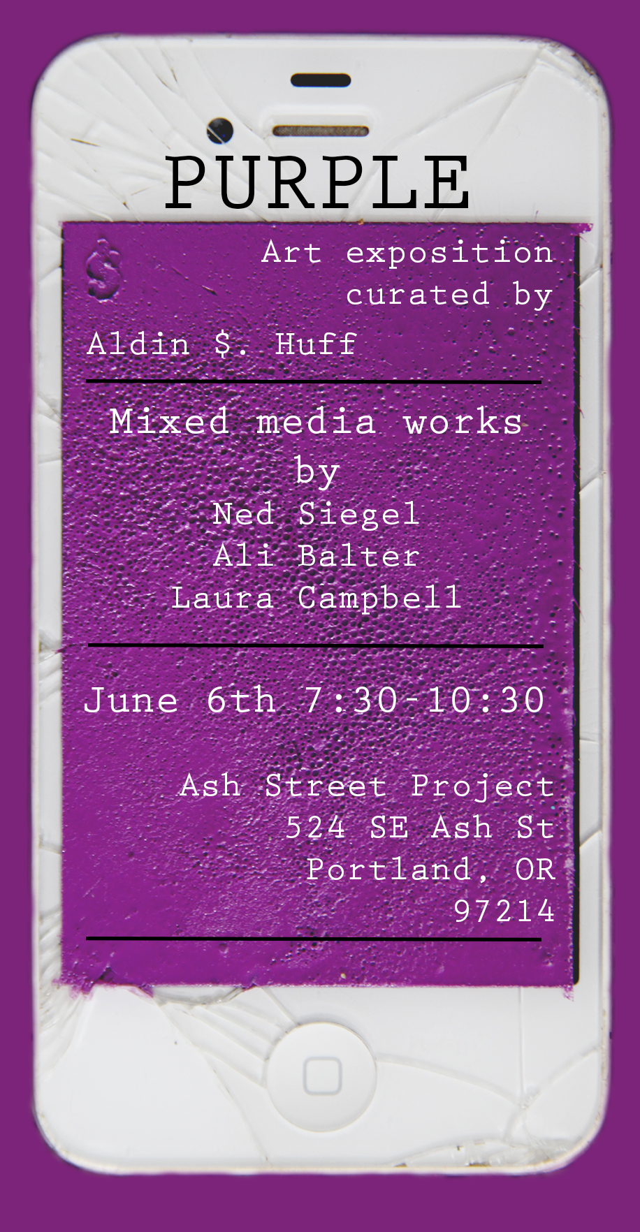 Current Exhibit: Purple curated by Aldin Huff