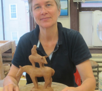 Cathy Bloom in her studio