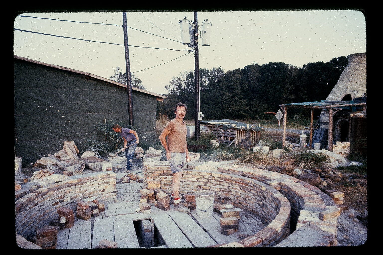Thomas building kiln in Water Valley Mississippi circa 1981