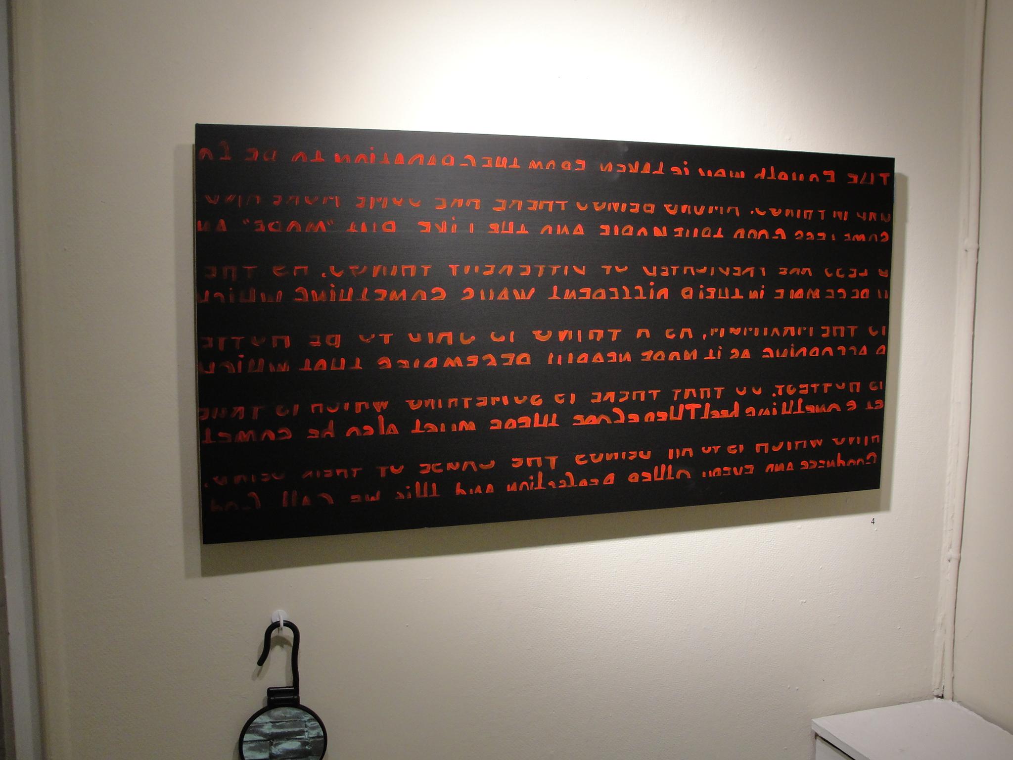 "Quinque viae (Proof 4) ; acrylic, blackboard paint, mirror, pastel, pencil; H24""xW48""; 2010."
