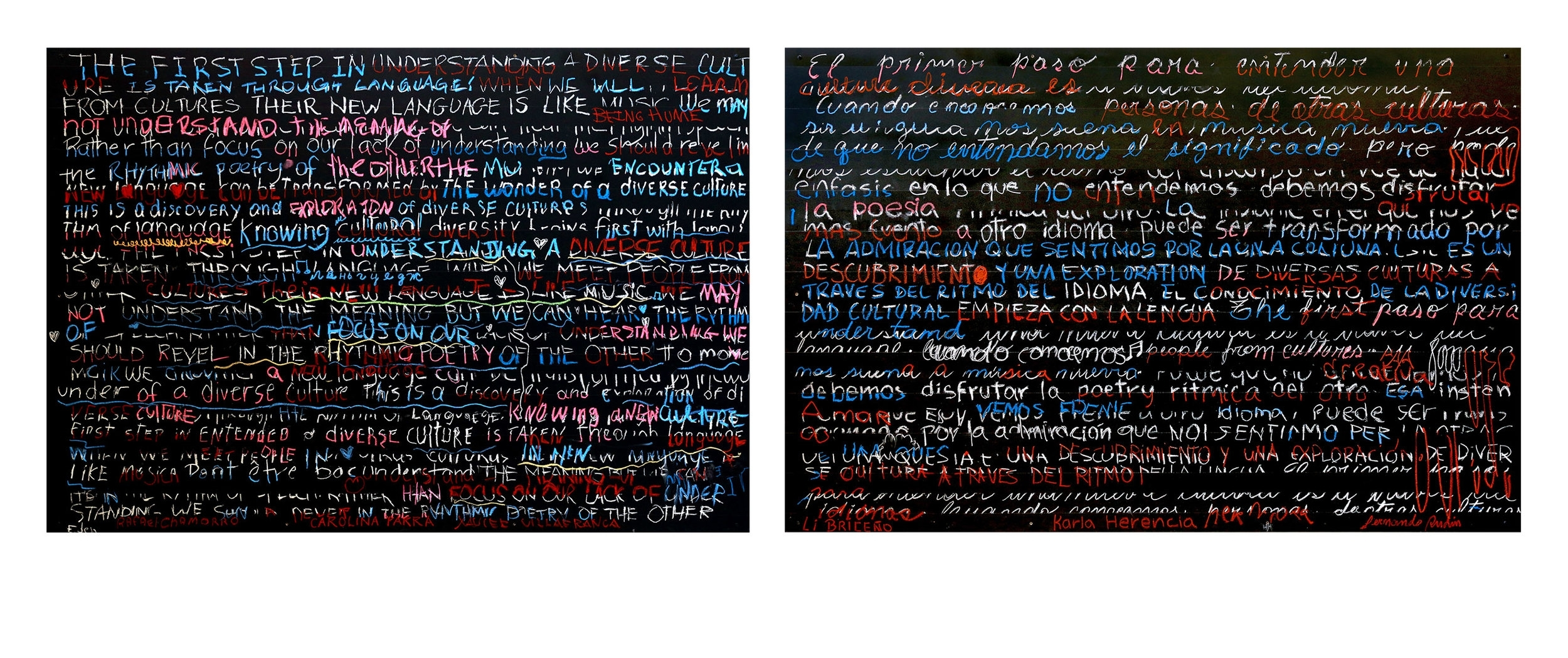 "Participatory Installation:  Reflections On Diversity    ; blackboard paint, chalk, pastels, pencil on birch; diptych: H48""xW144""; 2016 (Collection of S. Fitzgerald Haney; San Jose, Costa Rica)"