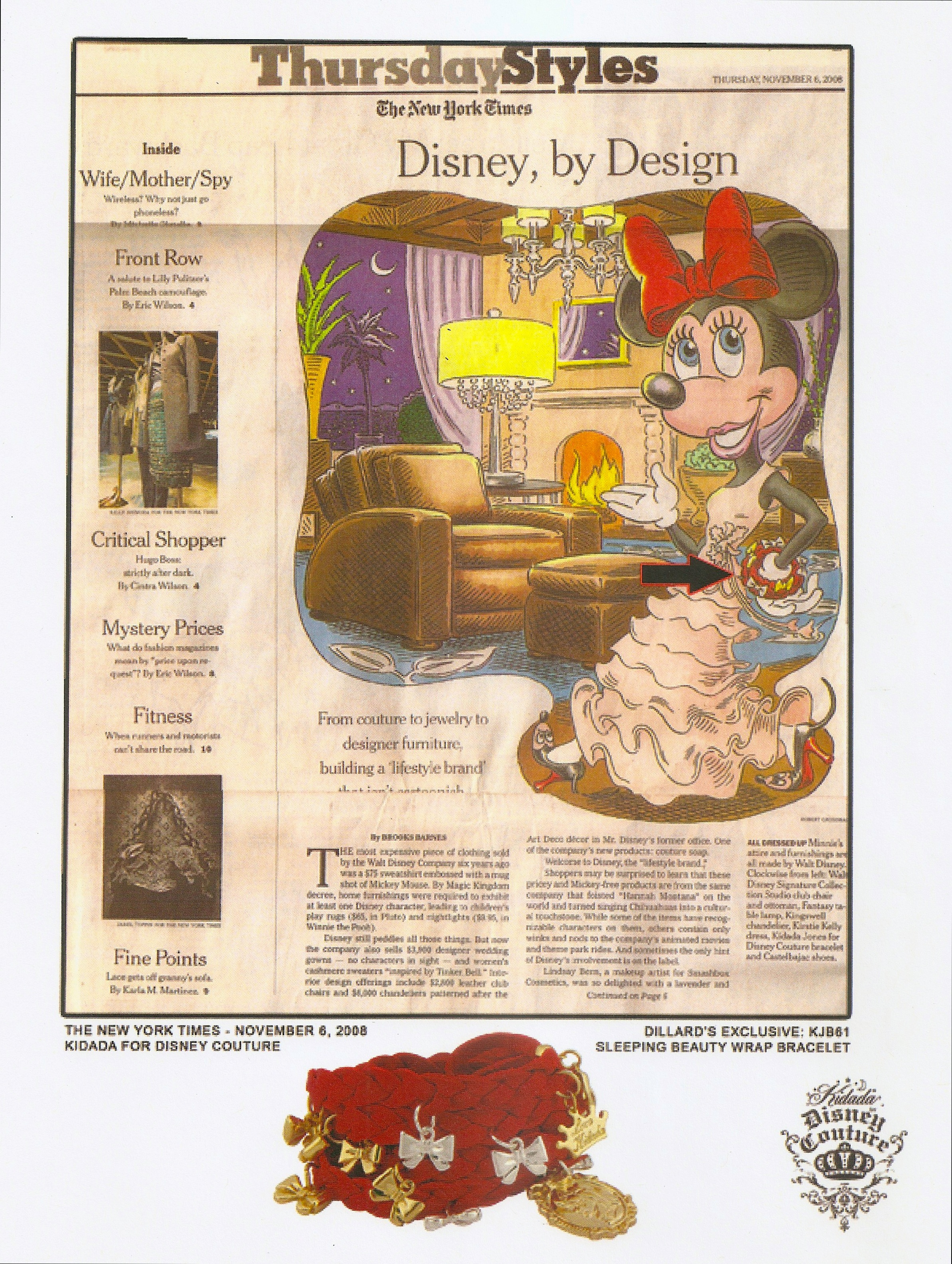 New York Times Style Section Feature on Disney Couture with Mini Mouse wearing a wrap bracelet