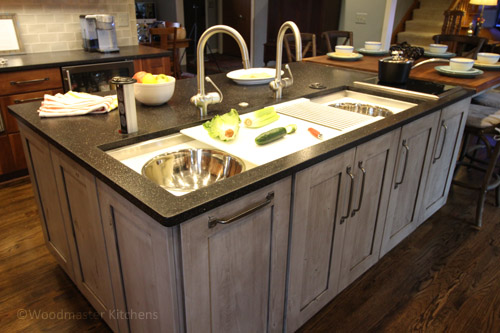 Kitchen design featuring an island with a Galley Sink workstation.