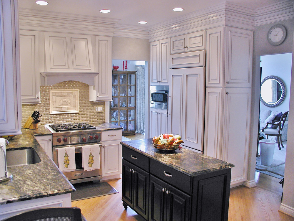 Kitchen design with tile inset feature.